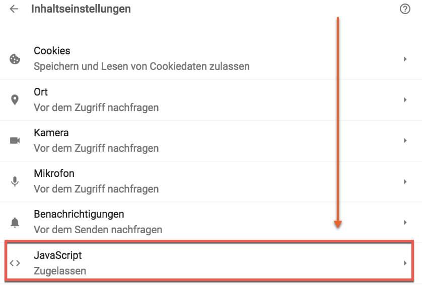 Google Chrome Einstellunh´gen, um JavaScript zuzulassen - Google Analytics wird unterdrückt