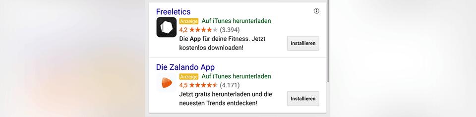 Anzeigen für Apps