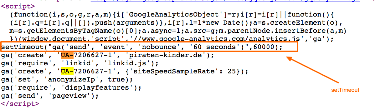 Implementierung über den Google Analytics Tracking Code