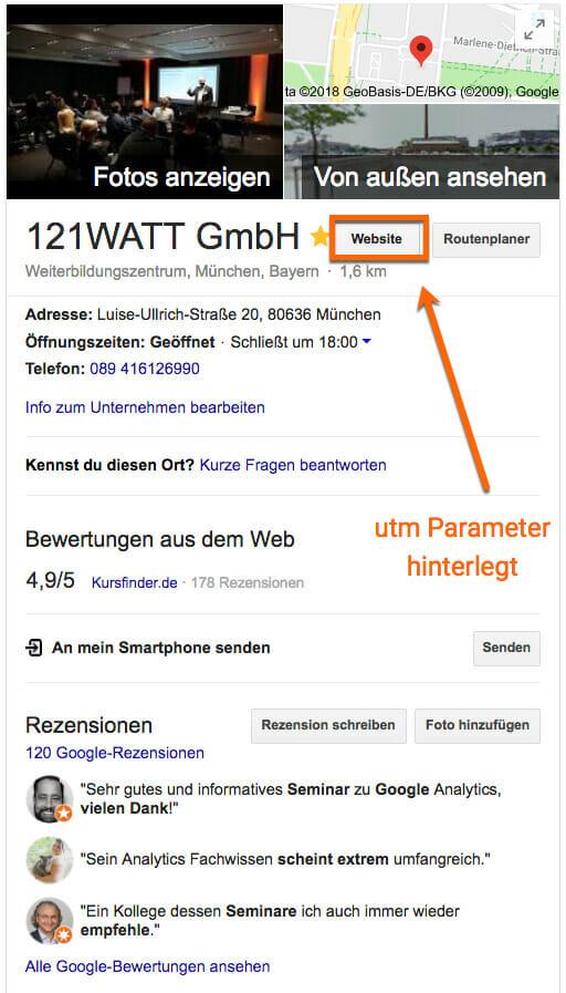 utm Parameter auf den Google My Business Eintrag hinterlegen