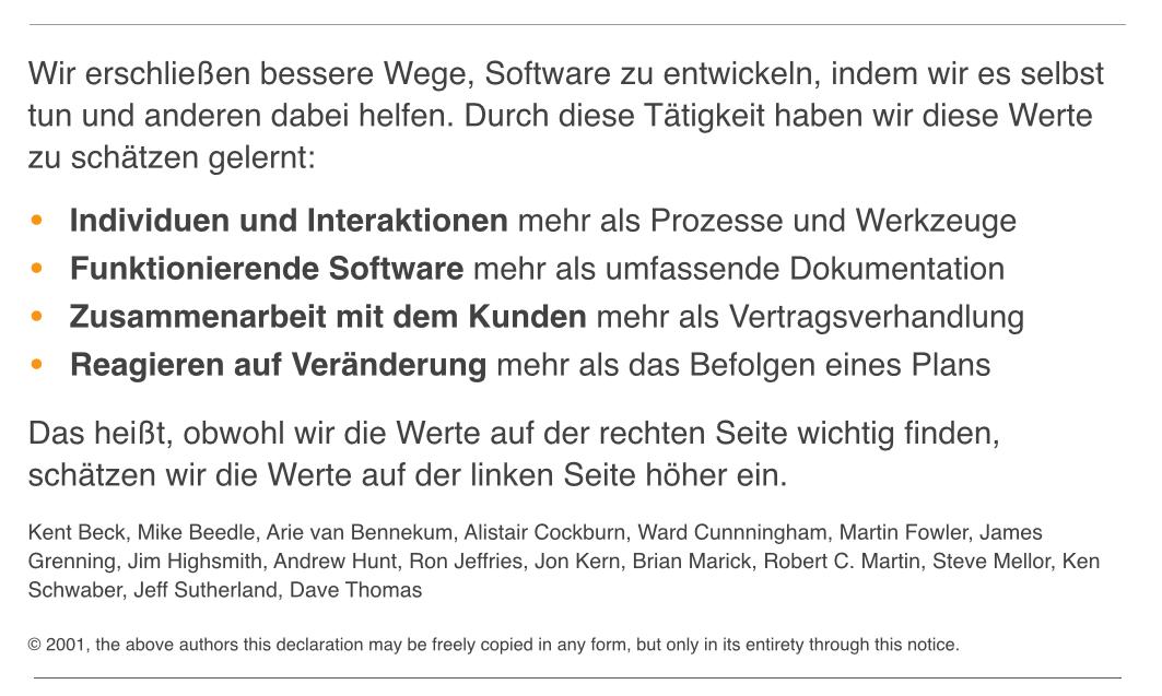 Das Manifest der agilen Softwareentwickler