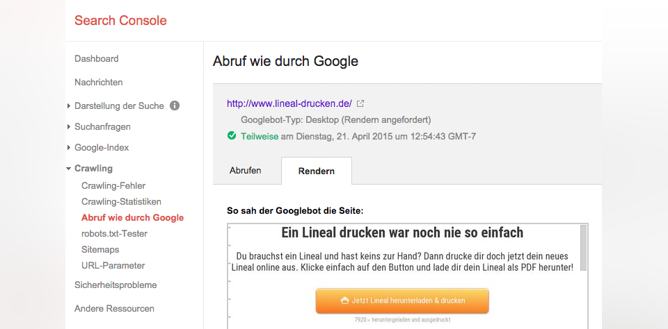 Abruf wie durch Google-Feature in der Search Console