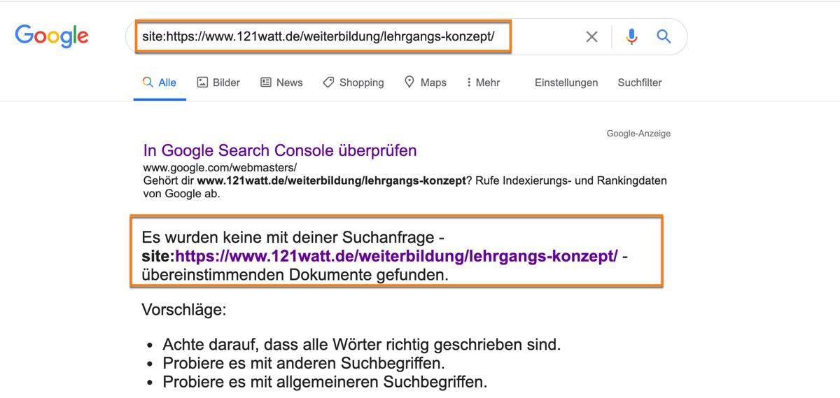 So überprüfst du mit dem Google site: Befehl, ob deine URL im Index von Google zu finden ist?