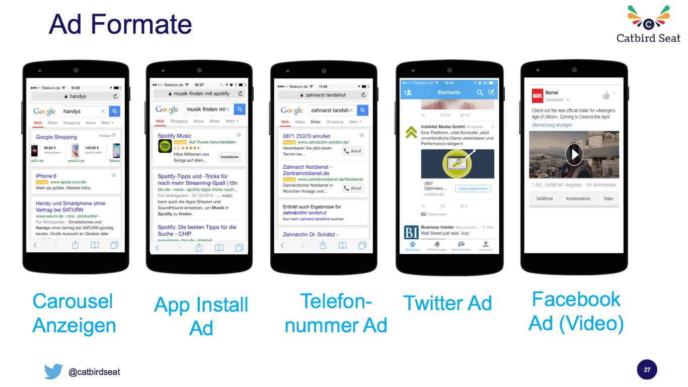 Mobile Ad Formate von Video Ad bis hin zu Carousel Ad