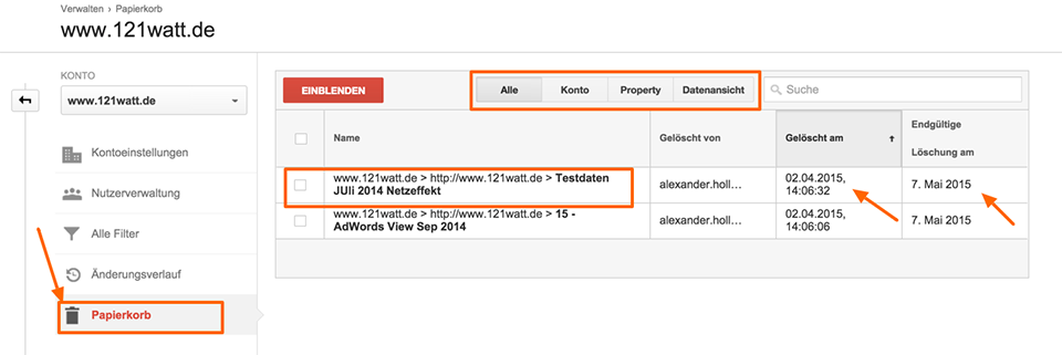 Die neue Paiperkorb Funktion (Trash Can) in Google Analytics