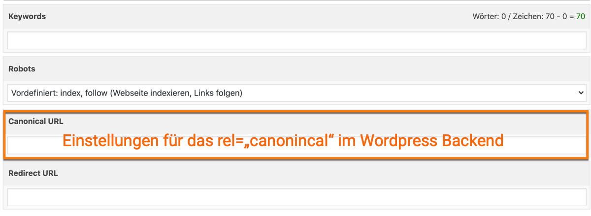 "Das rel=""canonical"" im WordPress Backend"