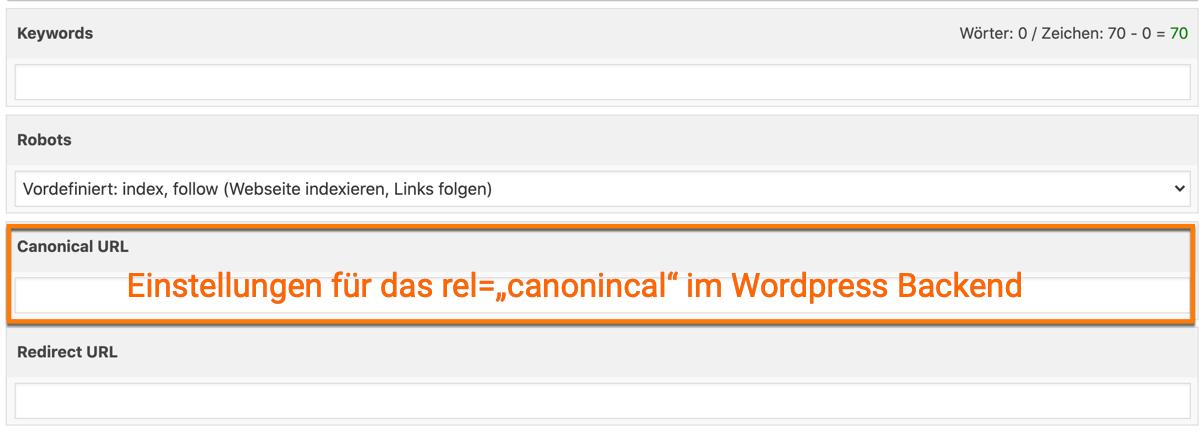 "Das rel=""canonical"" im WordPress Backend"