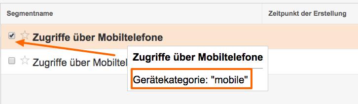 "Google Analytics Systemsegment mit Gerätekategorie ""mobile"""