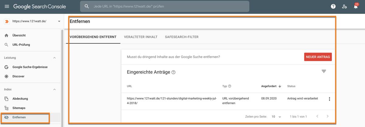 URLs über die Google Search Console entfernen