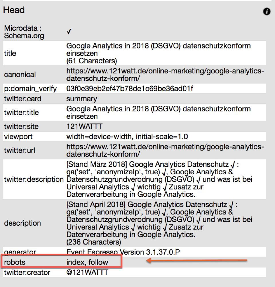 Noindex mit Browseo Tool überprüfen