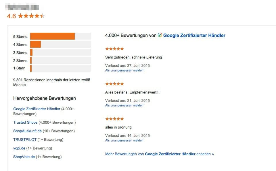 Darstellung einer Verkäuferbewertungs-Übersicht von Google