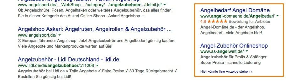 Drei Google AdWords-Anzeigen. Davon eine mit Verkäuferbewertungen