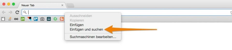 Einfügen eines Suchbegriffs in Chrome