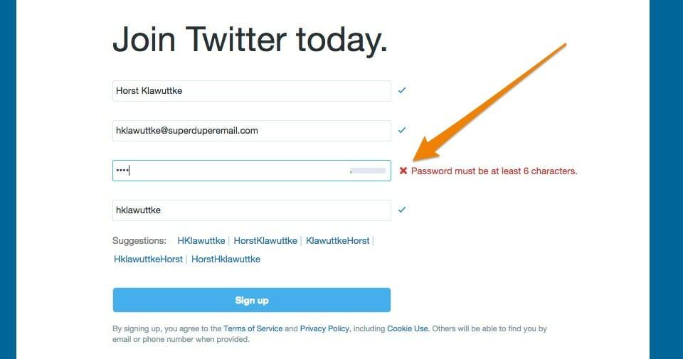 Das Twitter-Anmeldeformular mit Passwort-Fehlermeldung
