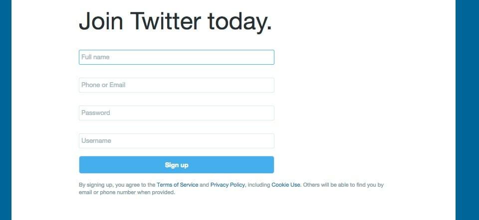 Das Twitter-Anmeldeformular mit ausgefüllten Feldern