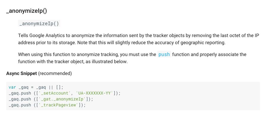 anonymizeIP Befehl fürs klassische Google Analytics