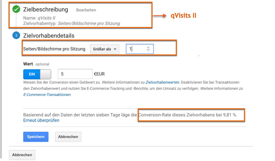 qVisits als Zieldefinition in Google Analytics