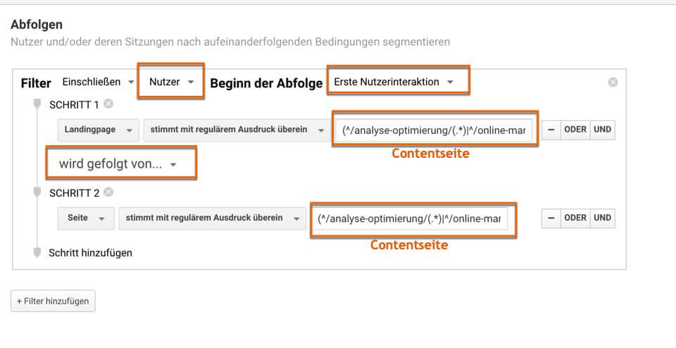 Beispiel für ein Sequentielles Segment in Google Analytics bei der 121WATT
