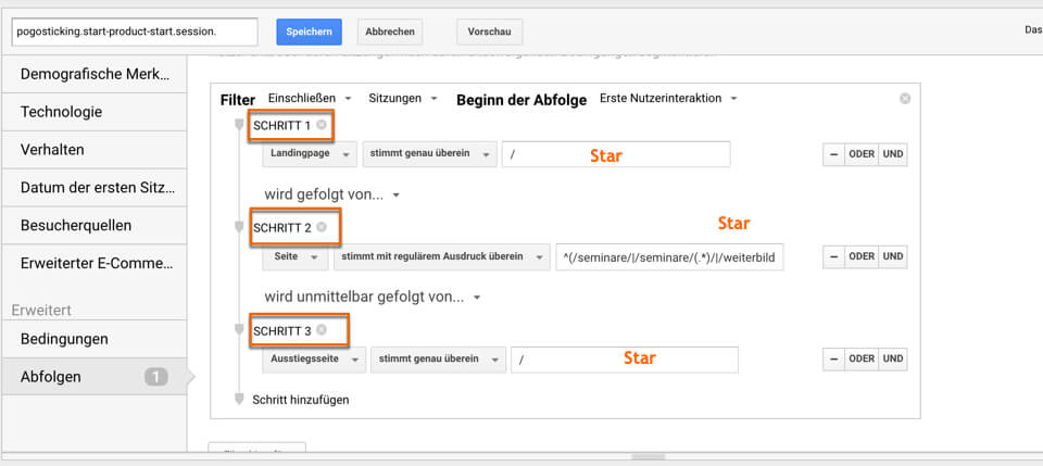 Sequentielles Segment in Google Analytics
