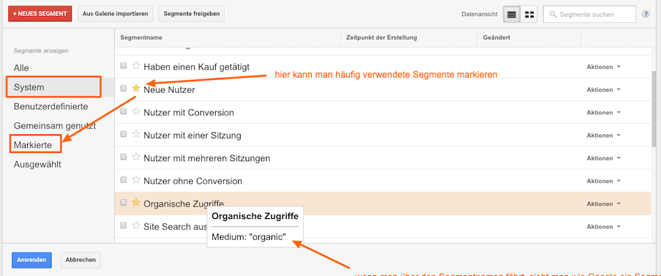 Standardsegmente in Google Analytics