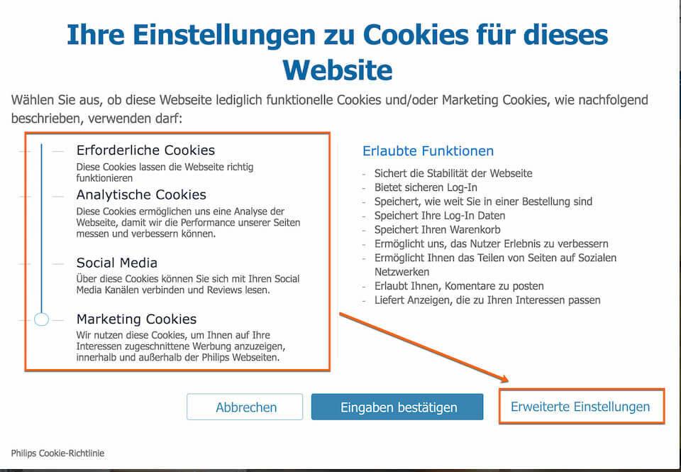 Datenschutz im Online Marketing DSGVO Cookie Zustimmung durch den Nutzer. Ein Beispiel für die Umsetzung bei Phillips