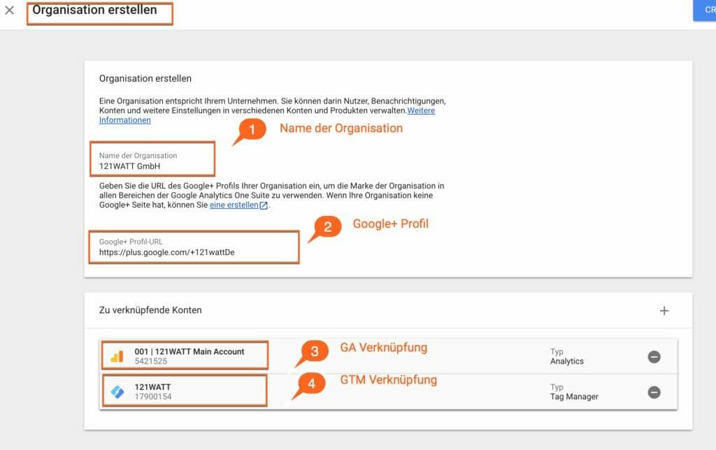 Organisationen und Konten in Google Analytics für den Zusatz zur Auftragsdatenverarbeitung verbindnen: DSGVO