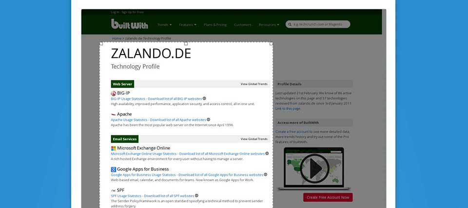 Markiere den relevanten Bereich des BuiltWith-Profils der Website, die du beobachten möchtest
