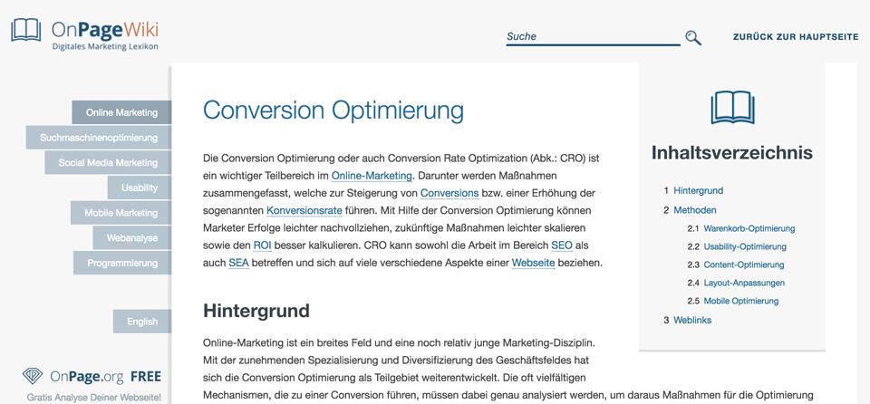 Ein Beispiel für Help-Content: dieser Artikel über Conversion-Optimierung von OnPage.org