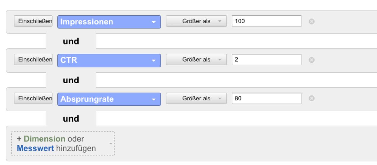 Abbildung 13: Dieser Filter hilft bei der Identifikation der Suchbegriffe, über die Nutzer kamen, die letztlich nicht fanden, was sie suchten.