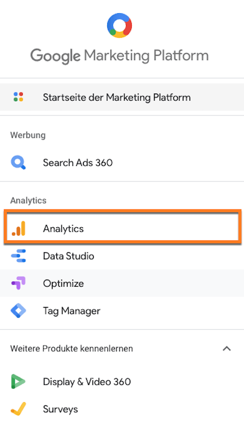 Google Analytics als Bestandteil der Google Marketingplattform