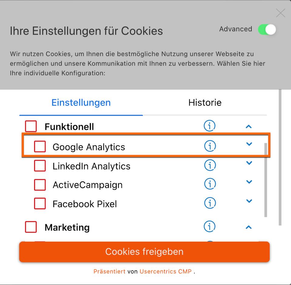 User Consent Banner zur aktiven Zustimmung für Google Analytics am Beispiel der 121WATT