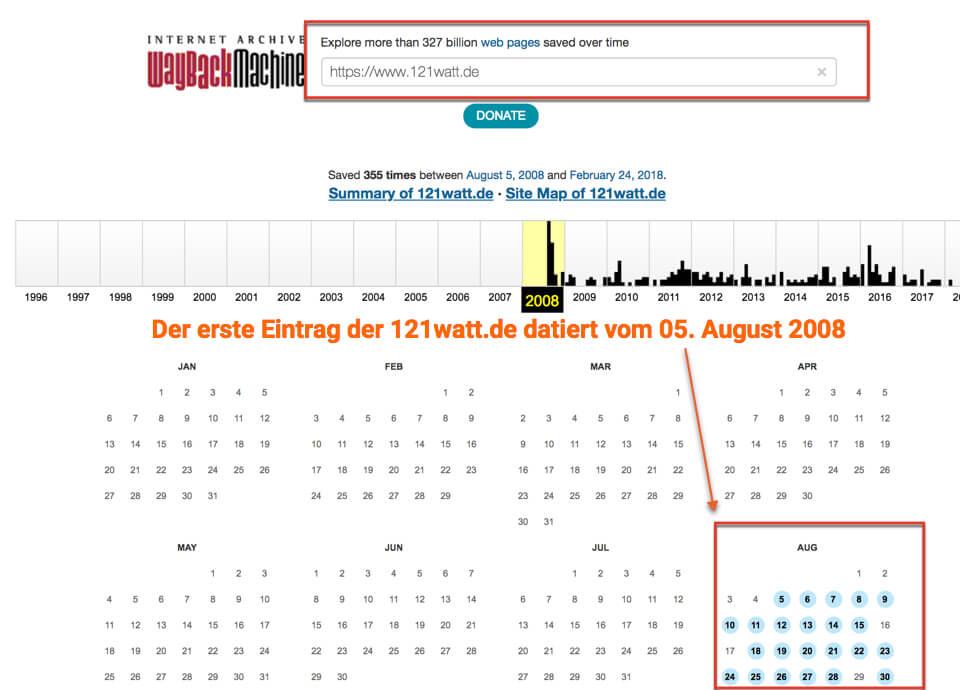 Analyse historischer Daten mit Web Archive Org