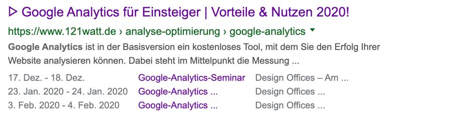 Beispiel für ein optimiertes Snippet hier zum Thema Google Analytics