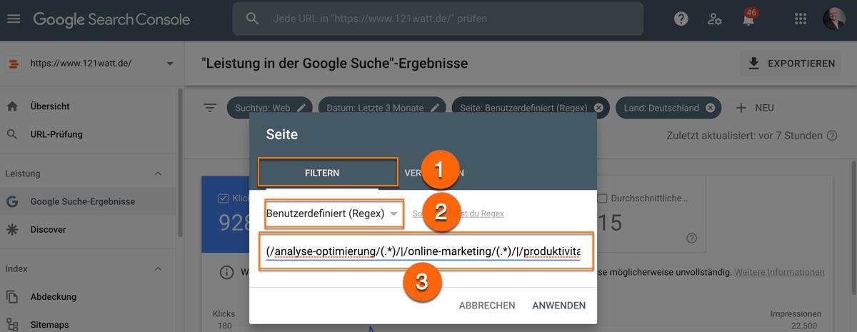 Regulaere Ausdruecke in der Google Search Console
