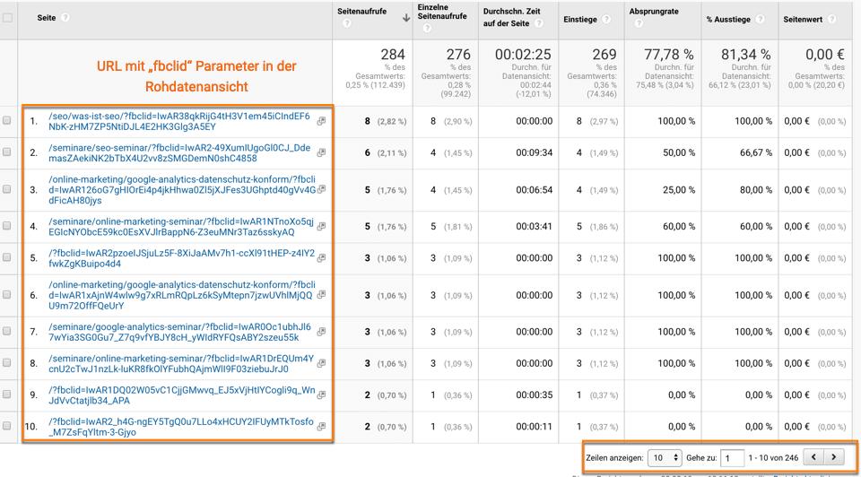 fbclid Parameter in Google Analytics alle Seiten Bericht führt zu Kardinalitätsproblemen