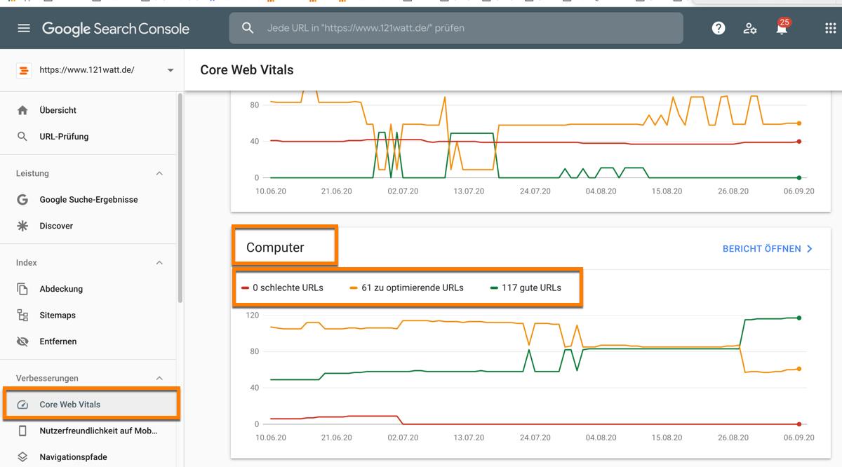Core Web Vitals Bericht in der neuen Google Search Console