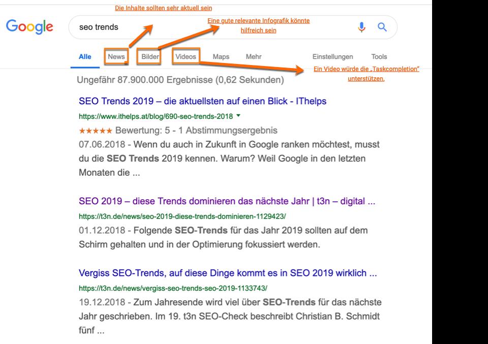 So analysiert Ihr die Suchergebnisseite von Google, um den besten Inhalt für die Search Experience Optimization beim Nutzer zu analysieren. Hier am Beispiel des Suchbegriffs SEO-Trends