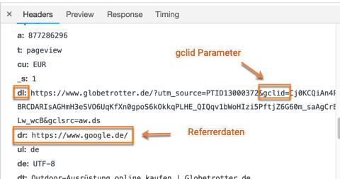 Google Ads gclid Parameter über die Google Chrome Entwicklertools überprüfen