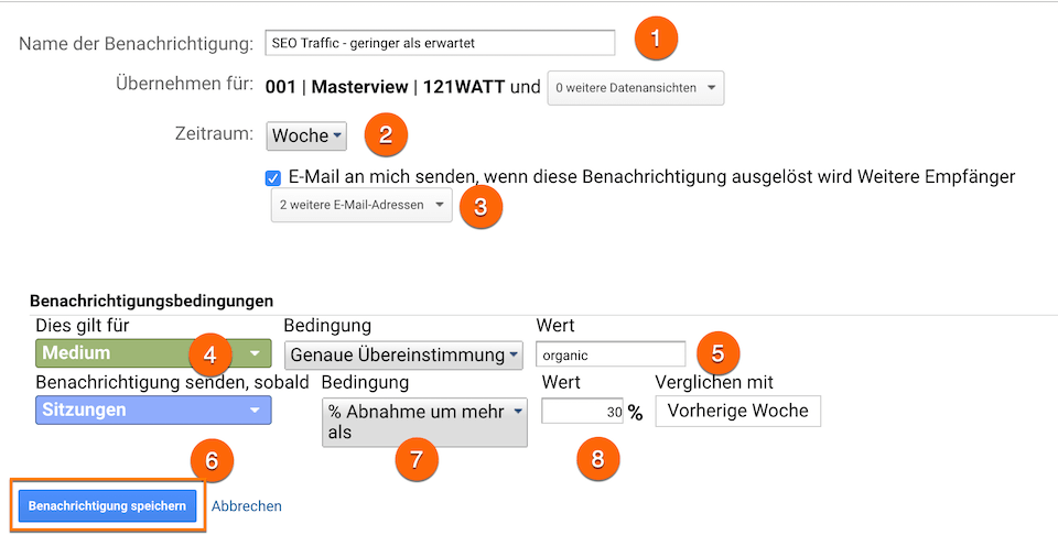 Anlegen von Custom Alerts in Google Analytics