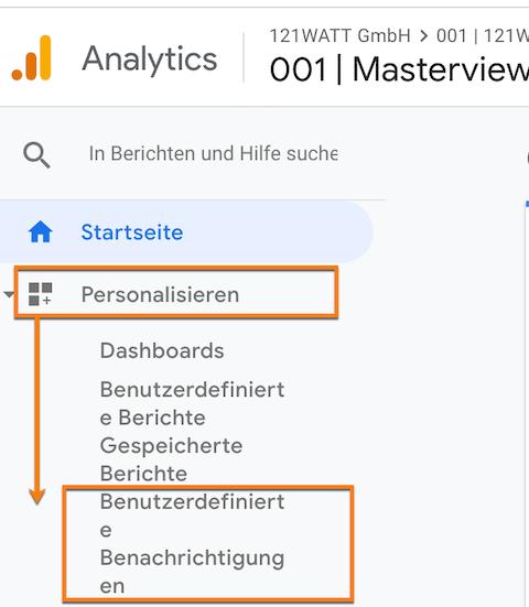 Hier finden sich die benutzerdefinierten Benachrichtigungen in Google Analytics