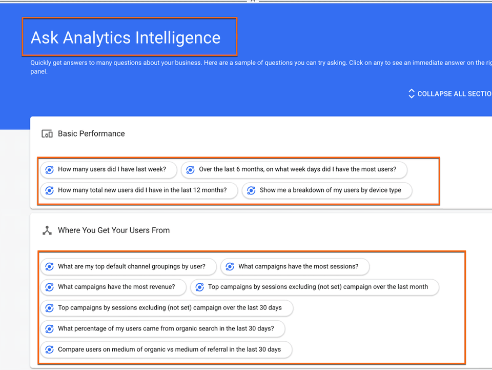 Frag Google: Ask Analytics Intelligence