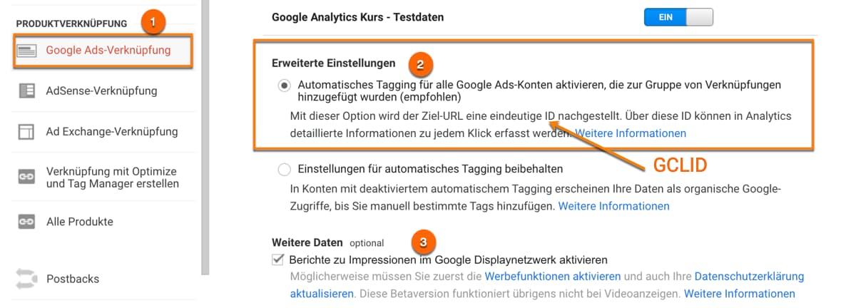 Automatische Tag-Kennzeichnung auf Property-Ebene in der Google Analytics-Verknüpfung aktivieren