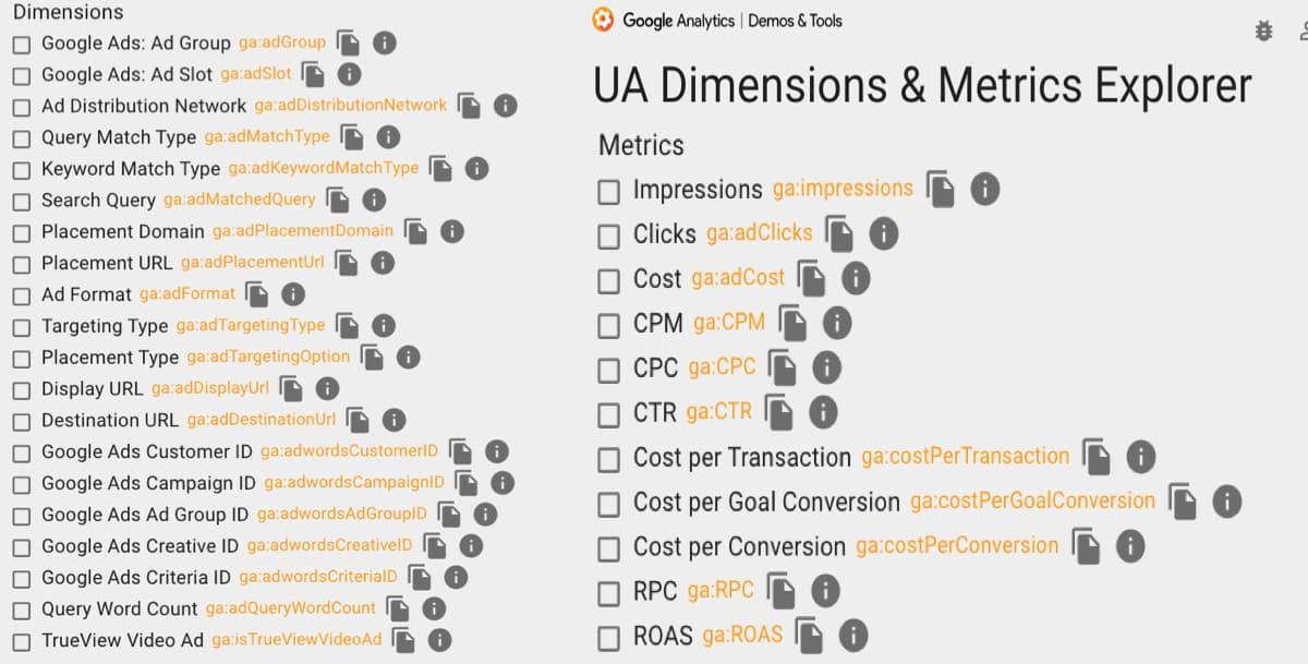 Google Ads Dimensionen und Metriken, die dir über die automatische Tag-Kennzeichnung zur Verfügung stehen