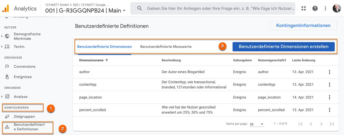 Benutzerdefinierte Definition in Google Analytics 4 (GA4) registrieren