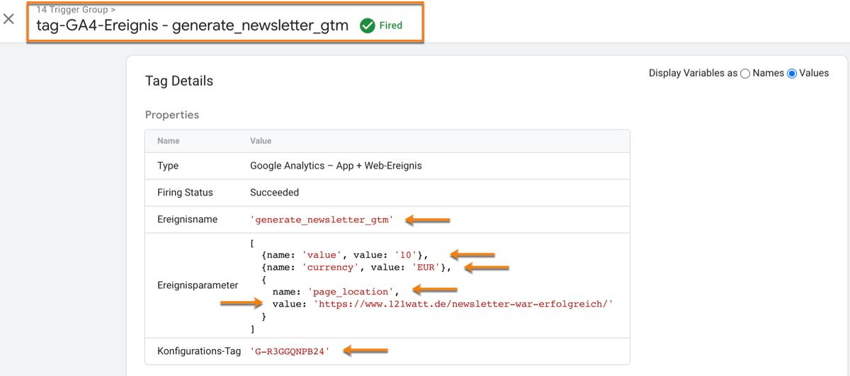 So überprüfst du deine benutzerdefinierten Ereignisse für Google Analytics 4 im Vorschaumodus