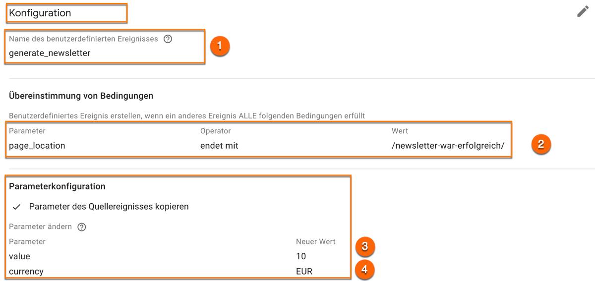 Definition eines benutzerdefinierten Ereignisses am Beispiel einer Newsletter Anmeldung in Google Analytics 4 (GA4)
