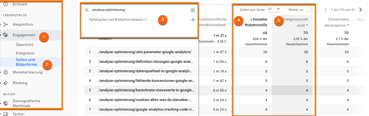 Den Event en=scroll in Google Analytics Version 4 im Bericht Engagement analysieren