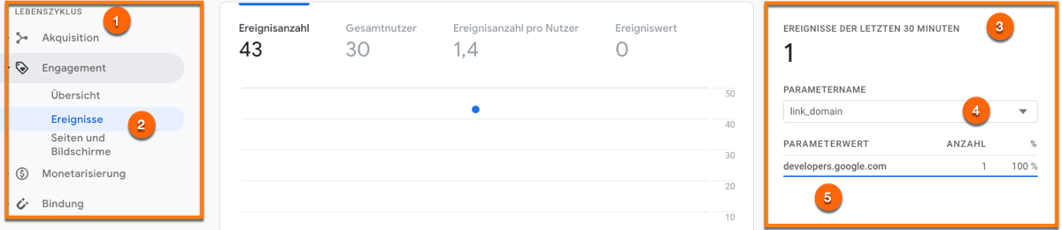 Das Ereigniss Click in Google Analytics Version 4 analysieren