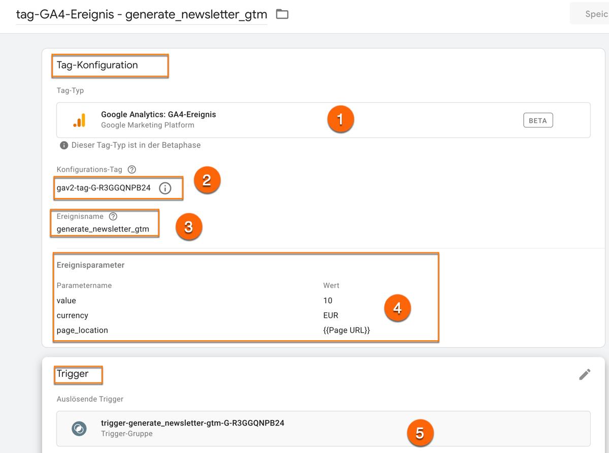 So konfigurierst du benutzerdefinierte Ereignisse für Google Analytics 4 im Google Tag Manager