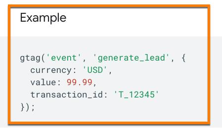 Beispiel generate_lead als empfohlenes Ereignis in Google Analytics 4 (GA4)